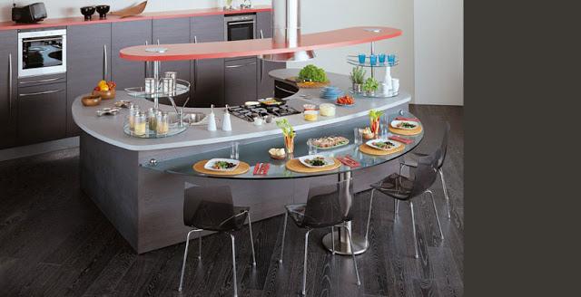 Barras en la cocina de formas curvas arquitectura de calle - Cocinas pequenas con isla ...
