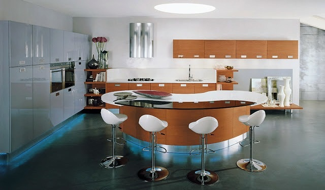 Barras en la cocina de formas curvas arquitectura de calle - Barras en cocinas ...