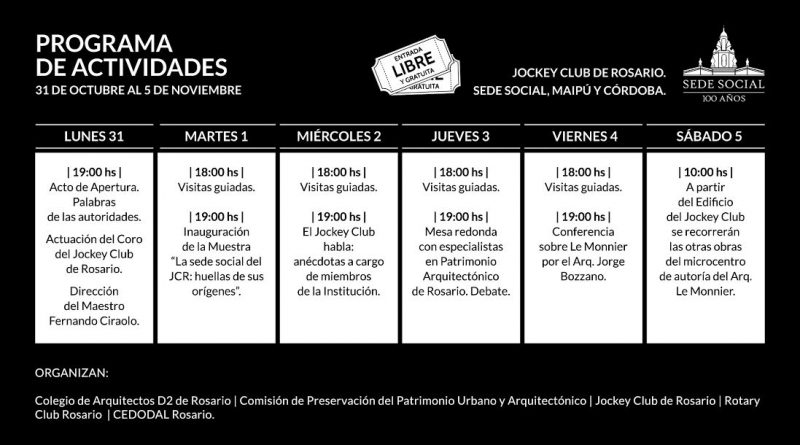 Actividades Semana del Patrimonio en Jockey Club Rosario